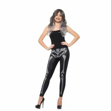 Halloween zwarte legging skelet opdruk dames carnavalskleding roosend