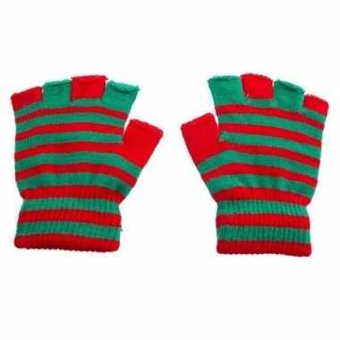 Handschoenen zonder vingers rood groen one size carnavalskleding roos