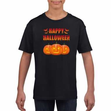 Happy halloween t shirt zwart kinderen carnavalskleding roosendaal