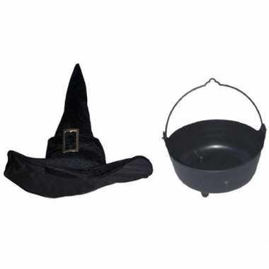 Heksen accessoires set fluwelen hoed ketel dames carnavalskleding roo