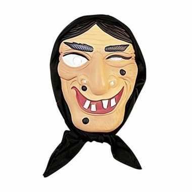 Heksen masker zwart haar hoofddoek carnavalskleding roosendaal
