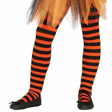 Heksen verkleedaccessoires panty maillot zwart/oranje meisj carnavals