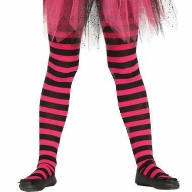 Heksen verkleedaccessoires panty maillot zwart/roze meisjes carnavals
