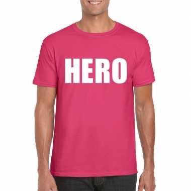 Hero tekst t shirt roze heren carnavalskleding roosendaal