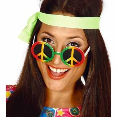 Hippie/flower power peace verkleed bril carnavalskleding roosendaal