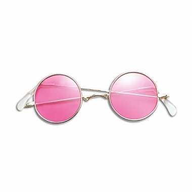 Hippie / flower power verkleed bril roze carnavalskleding roosendaal