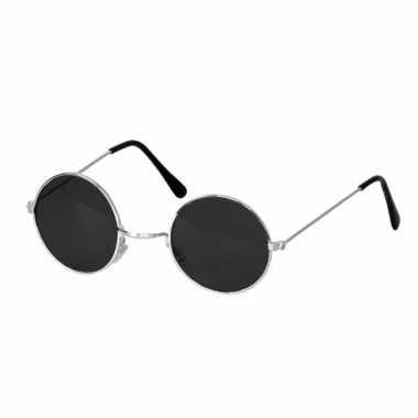 Hippie / flowerpower verkleed bril ronde glazen zwart carnavalskledin