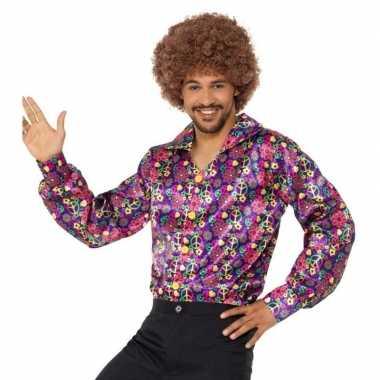 Hippie peace overhemd heren carnavalskleding roosendaal