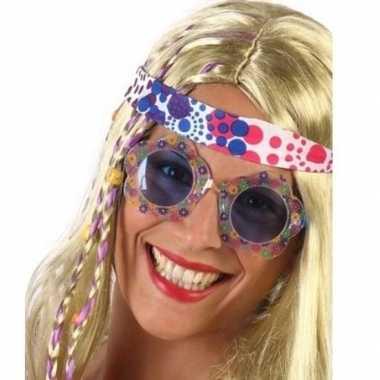Hippie verkleed bril blauwe glazen volwassenen carnavalskleding roose