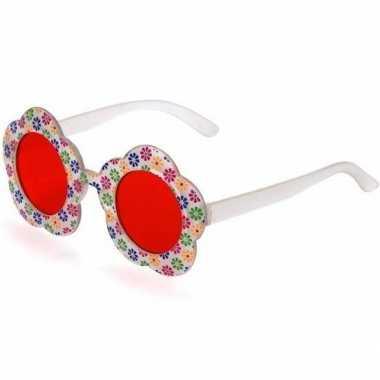 Hippie verkleed bril rode glazen volwassenen carnavalskleding roosend
