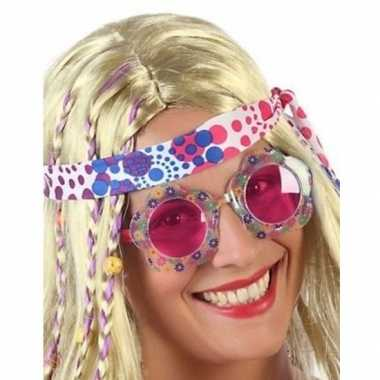 Hippie verkleed bril roze glazen volwassenen carnavalskleding roosend