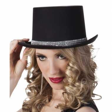 Hoge hoed zwart steentjes dames carnavalskleding roosendaal
