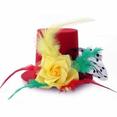 Hoog mini hoedje clip rood/geel/groen dames carnavalskleding roosenda