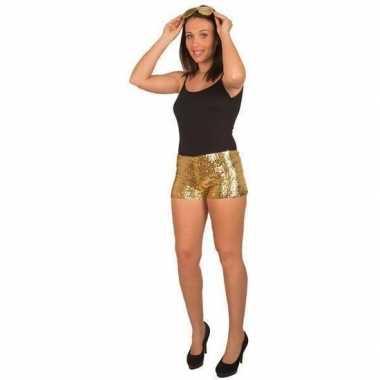 Hotpants pailletten goud dames carnavalskleding roosendaal