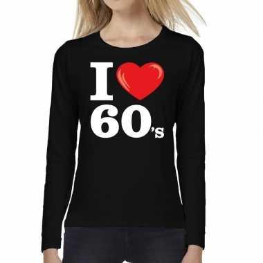 I love s / sixties long sleeve t shirt zwart dames carnavalskleding r