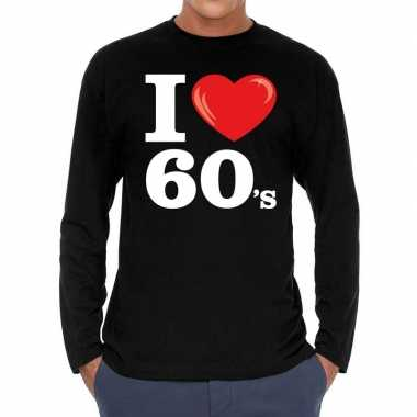 I love s / sixties long sleeve t shirt zwart heren carnavalskleding r