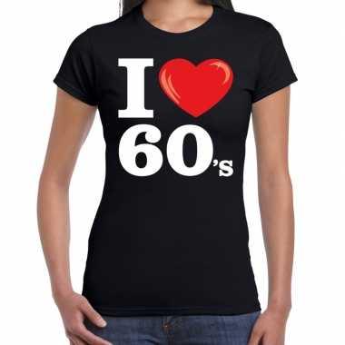 I love s / sixties t shirt zwart dames carnavalskleding roosendaal