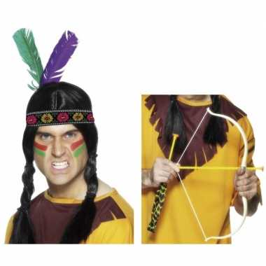 Indianen accessoires verkleedset hoofdband pijl boo carnavalskleding