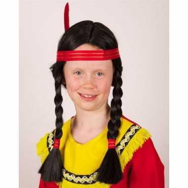 Carnavalskleding indianen kinderpruik vlechten roosendaal 10065552