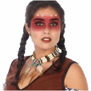 Indianen verkleed accessoire ketting kralen veren carnavalskleding ro