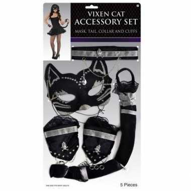 Katten/poezen verkleed set zwart zilver carnavalskleding roosendaal