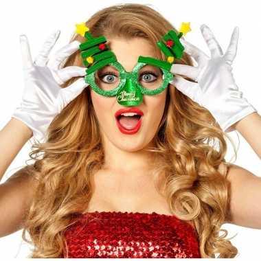 Kerst feest/verkleed bril groen kerstbomen volwassenen carnavalskledi