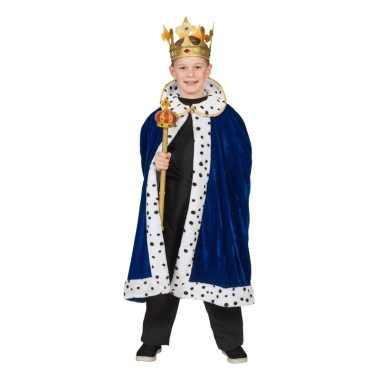 Koning verkleed cape blauw jongens carnavalskleding roosendaal