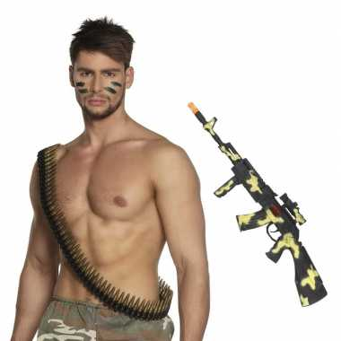 Leger accessoires verkleedset kogelriem geweer carnavalskleding roose