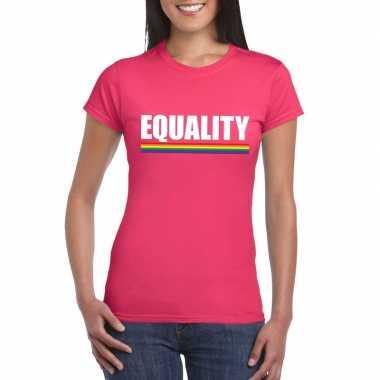 Lgbt shirt roze equality dames carnavalskleding roosendaal