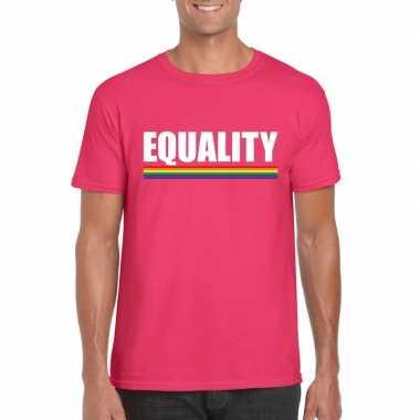 Lgbt shirt roze equality heren carnavalskleding roosendaal