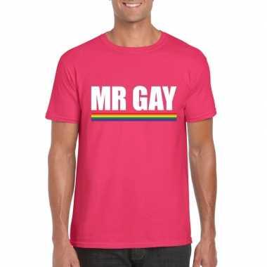 Lgbt shirt roze mister gay heren carnavalskleding roosendaal