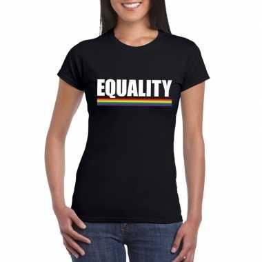 Lgbt shirt zwart equality dames carnavalskleding roosendaal
