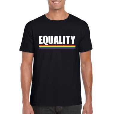 Lgbt shirt zwart equality heren carnavalskleding roosendaal