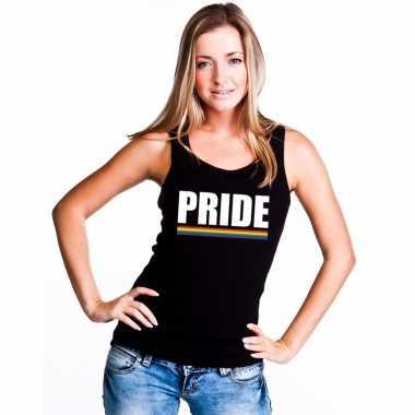 Lgbt singlet shirt/ tanktop zwart pride dames carnavalskleding roosen