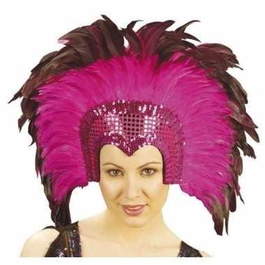 Luxe hoofdtooi fuchsia roze veren volwassenen carnavalskleding roosen