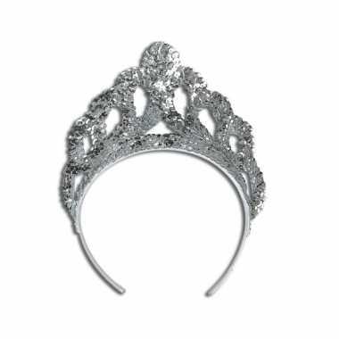 Carnavalskleding luxe zilveren tiara roosendaal