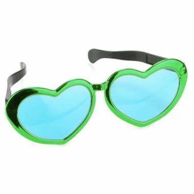 Mega groene hartjes verkleed bril volwassenen carnavalskleding roosen