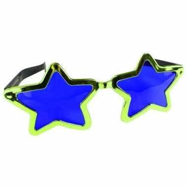Mega groene sterren verkleed bril volwassenen carnavalskleding roosen