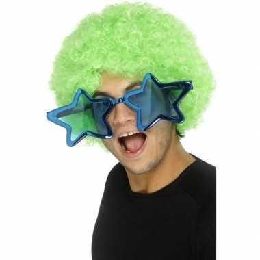 Mega turquoise sterren verkleed bril volwassenen carnavalskleding roo