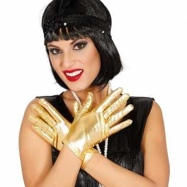 Metallic gouden verkleed handschoenen kort carnavalskleding roosendaa