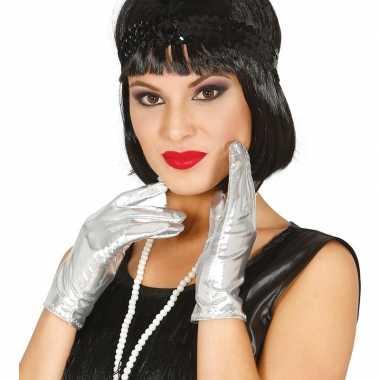 Metallic zilveren verkleed handschoenen kort carnavalskleding roosend