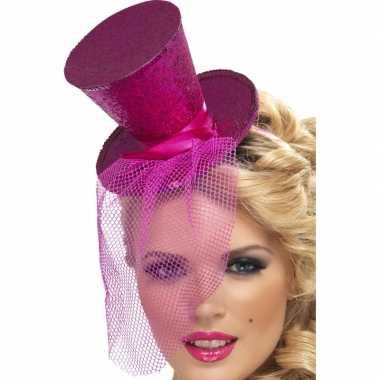 Mini hoge hoed diadeem roze carnavalskleding roosendaal