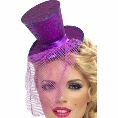 Mini paarse hoge hoed diadeem carnavalskleding roosendaal