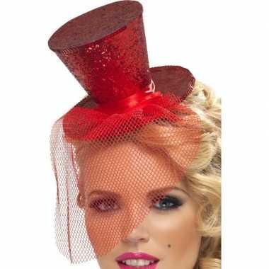 Mini rode hoge hoed diadeem carnavalskleding roosendaal