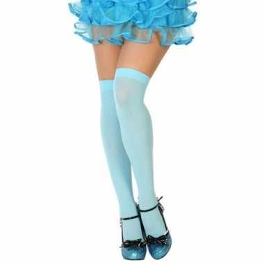 Neon blauwe verkleed kousen dames carnavalskleding roosendaal