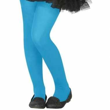 Neon blauwe verkleed panty kinderen carnavalskleding roosendaal