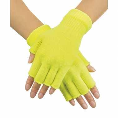 Neon gele handschoenen vingerloos gebreid volwassenen carnavalskleding roosendaal