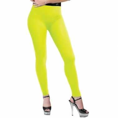 Neon gele legging dames carnavalskleding roosendaal