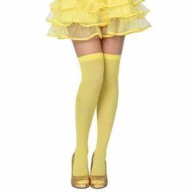 Neon gele verkleed kousen dames carnavalskleding roosendaal
