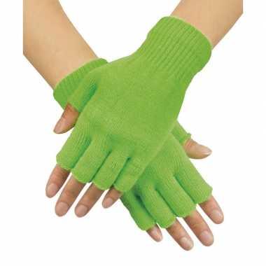 Neon groene handschoenen vingerloos gebreid volwassenen carnavalskleding roosendaal